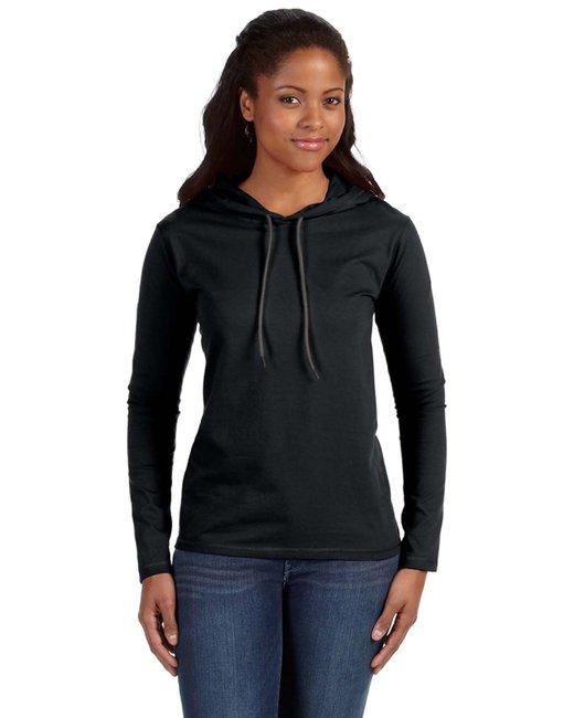 Anvil Ladies' Lightweight Long-Sleeve Hooded T-Shirt - Black/ Dark Grey