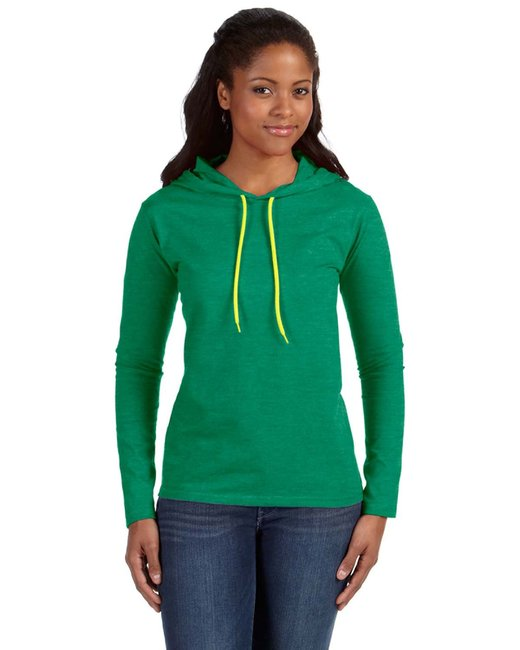 Anvil Ladies' Lightweight Long-Sleeve Hooded T-Shirt - Hth Grn/ Neo Yel