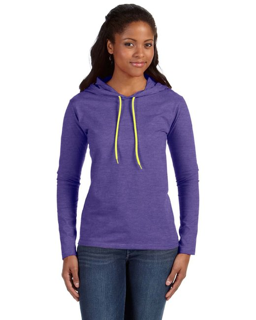 Anvil Ladies' Lightweight Long-Sleeve Hooded T-Shirt - Hth Prp/ Neo Yel
