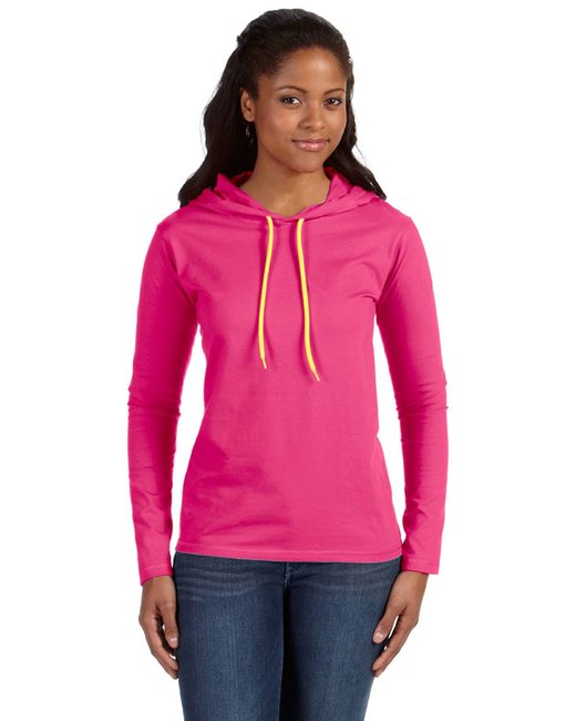 Anvil Ladies' Lightweight Long-Sleeve Hooded T-Shirt - Ht Pink/ Neo Yel