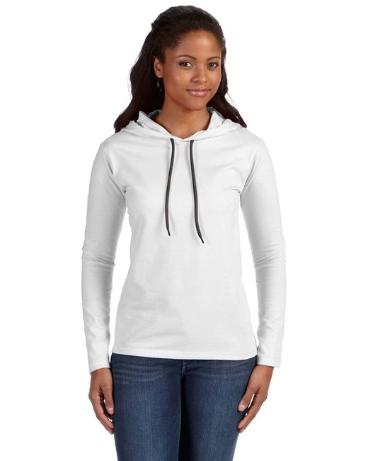 Anvil Ladies' Lightweight Long-Sleeve Hooded T-Shirt - White/ Dark Grey