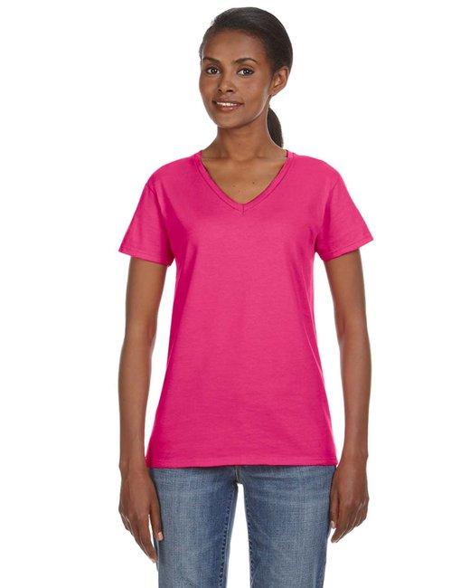 Anvil Ladie's Ringspun V-Neck T-Shirt - 88VL - Hot Pink - S