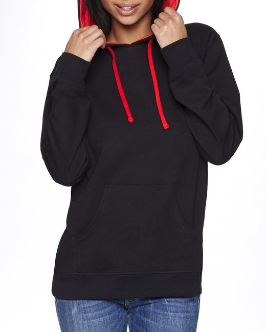Next Level Unisex French Terry Pullover Hoody - Black/ Red