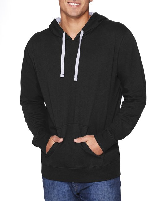 Next Level Unisex French Terry Pullover Hoody - Black/ Hthr Grey