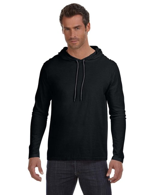 Anvil Adult Lightweight Long-Sleeve Hooded T-Shirt - Black/ Dark Grey