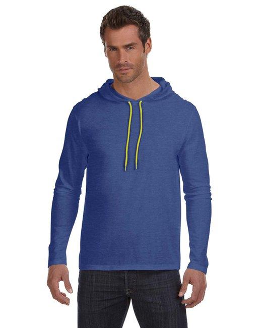 Anvil Adult Lightweight Long-Sleeve Hooded T-Shirt - Hth Blu/ Neo Yel