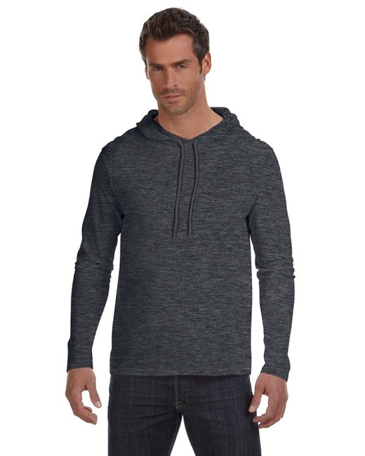Anvil Adult Lightweight Long-Sleeve Hooded T-Shirt - Hth Dk Gy/ Dk Gy