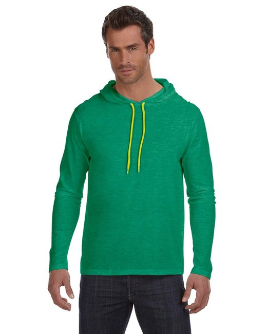 Anvil Adult Lightweight Long-Sleeve Hooded T-Shirt - Hth Grn/ Neo Yel