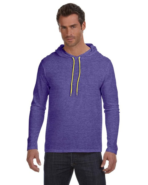 Anvil Adult Lightweight Long-Sleeve Hooded T-Shirt - Hth Prp/ Neo Yel