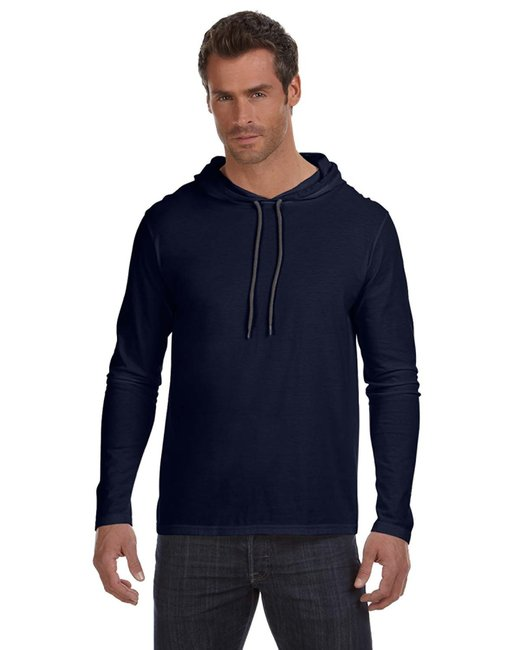 Anvil Adult Lightweight Long-Sleeve Hooded T-Shirt - Navy/ Dark Grey