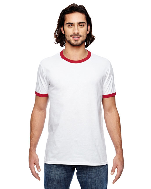 Anvil Lightweight Ringer T-Shirt - 988AN - White Red - L at Sears.com
