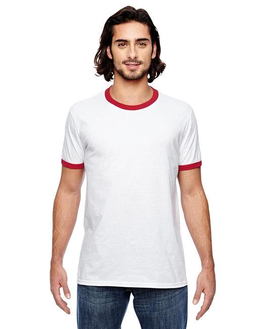Anvil Adult Lightweight Ringer T-Shirt - White/ Red