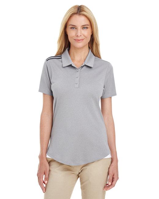 Adidas Ladies' 3-Stripes Shoulder Polo - Med Grey Hthr