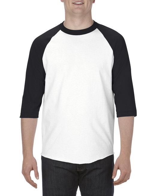 Alstyle Adult 6.0 oz., 100% Cotton 3/4 Raglan T-Shirt - White/ Black