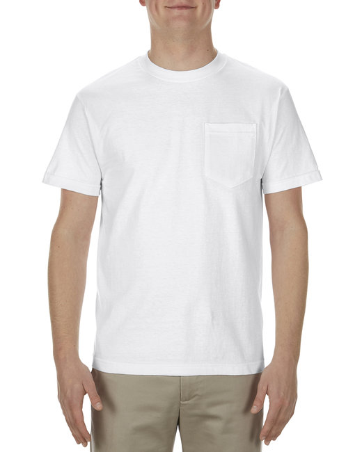 Alstyle Adult 5.1 oz., 100% Soft Spun Cotton Pocket T-Shirt - White