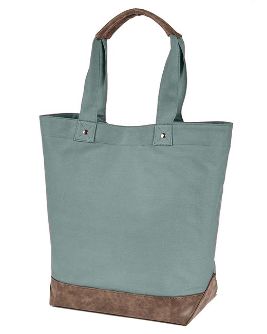 Authentic Pigment Canvas Resort Tote - Cypress/ Brown
