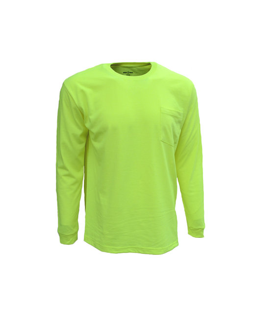 Bright Shield Adult Long-Sleeve Pocket Tee - Safety Green