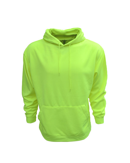 Bright Shield Adult Performance Pullover Hood with Bonded Polar Fleece - Safety Green
