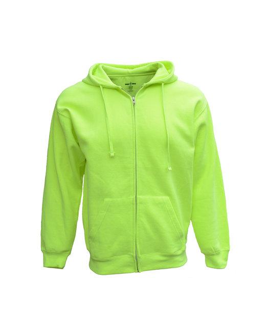 Bright Shield Adult Full-Zip Fleece Hood - Safety Green