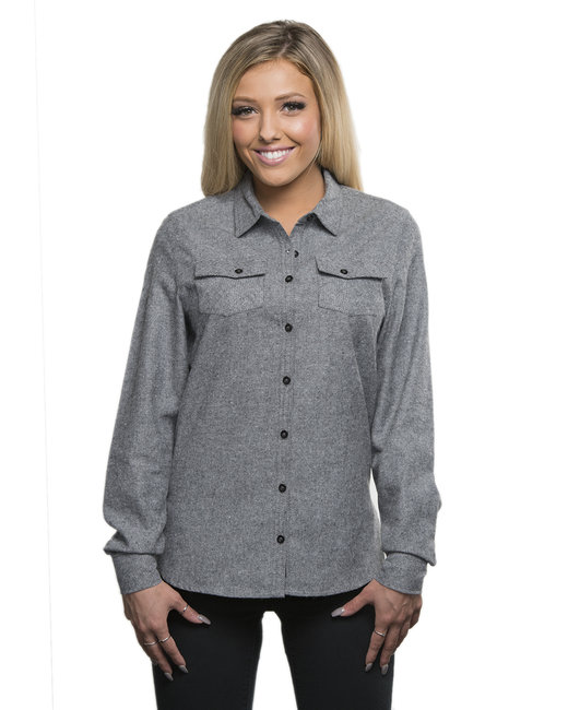Burnside Ladies' Solid Flannel Shirt - Heather Grey