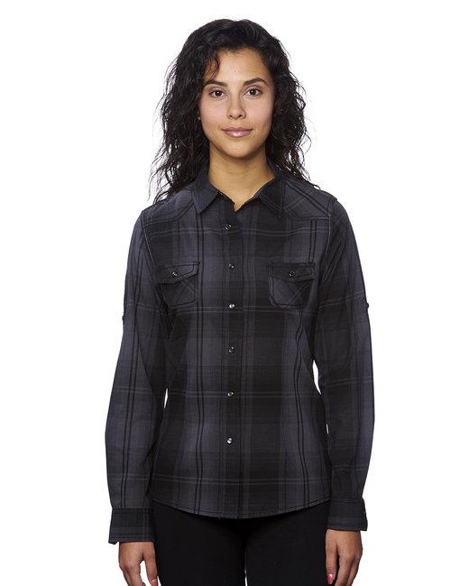 Burnside Ladies' Western Plaid Long-Sleeve Shirt - Black/ Grey