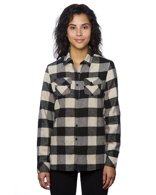 Burnside Ladies' Plaid Boyfriend Flannel Shirt - Ecru/ Black