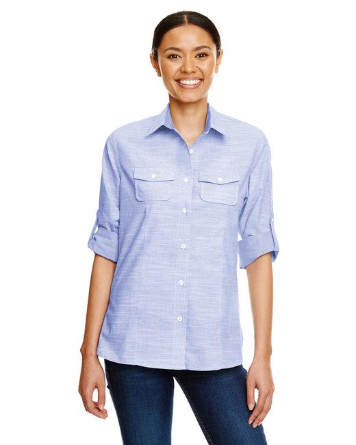 Burnside Ladies Texture Woven Shirt - Blue