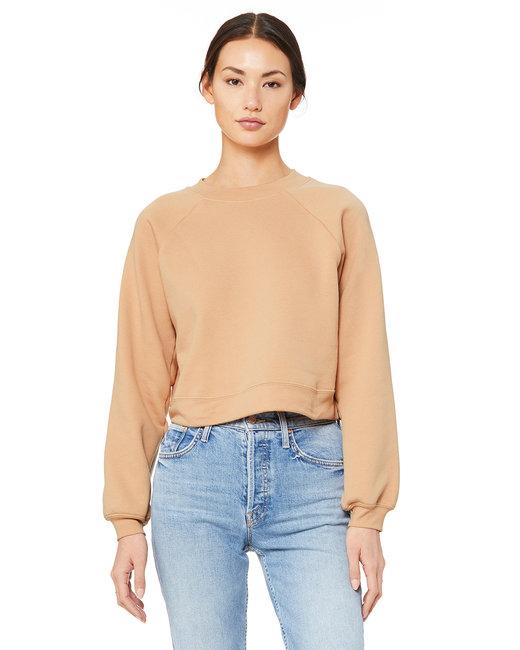 Bella + Canvas FWD Fashion Ladies' Raglan Pullover Fleece - Heathr Sand Dune