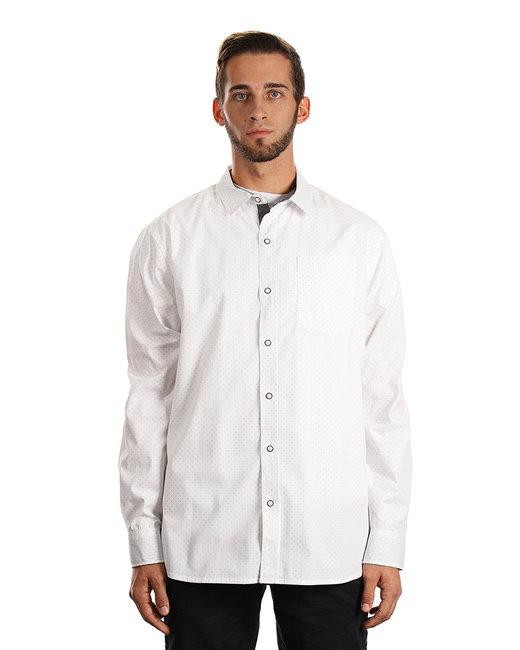 Burnside Men's Peached Poplin Woven Shirt - White/ Black Dot