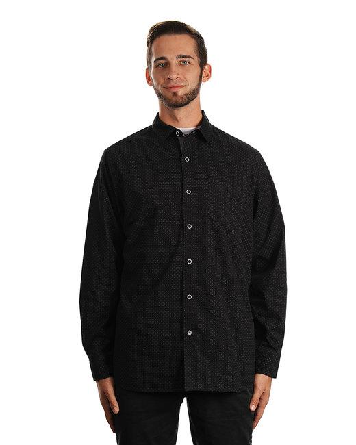 Burnside Men's Peached Poplin Woven Shirt - Black/ Wht Dot