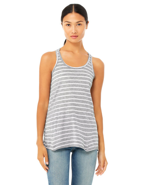 Bella + Canvas Ladies' Flowy Racerback Tank - Str Ath Htr/ Wht