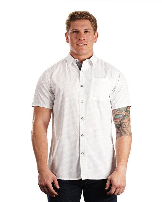 Burnside Men's Peached Poplin Short Sleeve Woven Shirt - White/ Black Dot