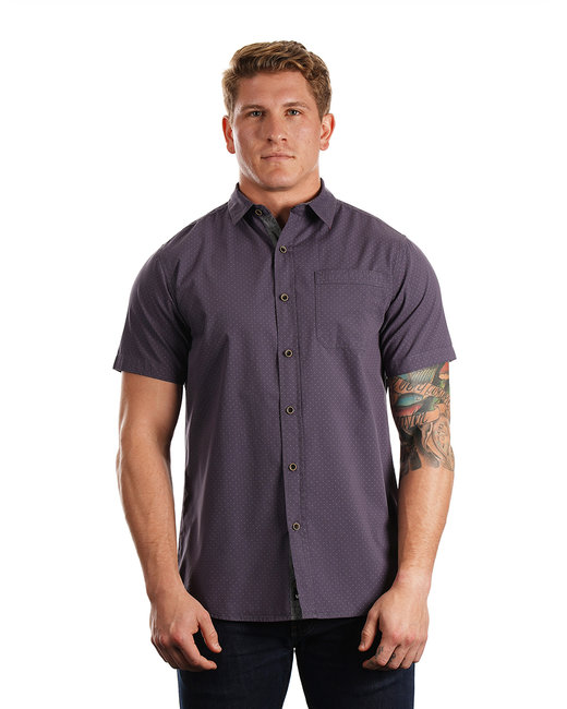 Burnside Men's Peached Poplin Short Sleeve Woven Shirt - Navy/ White Dot