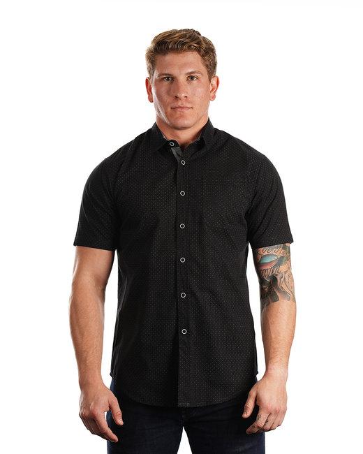 Burnside Men's Peached Poplin Short Sleeve Woven Shirt - Black/ Wht Dot