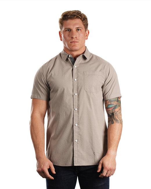 Burnside Men's Peached Poplin Short Sleeve Woven Shirt - Grey/ White Dot