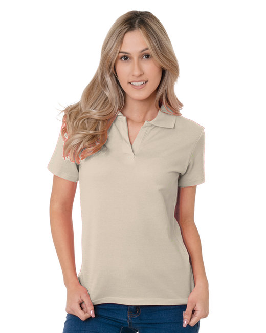 Bayside Junior's 6.2 oz., 100% Cotton V-Neck Polo - Sand