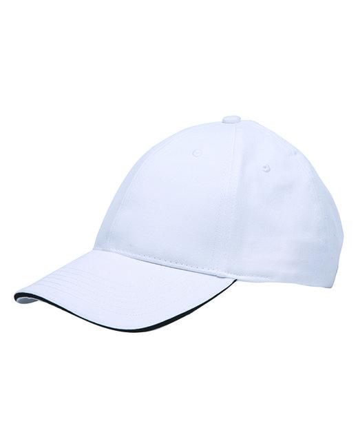 Bayside 100% Washed Cotton Unstructured Sandwich Cap - White/ Black
