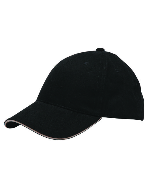 Bayside 100% Washed Cotton Unstructured Sandwich Cap - Black/ Tan