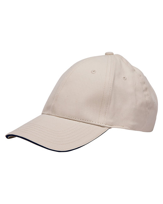 Bayside 100% Washed Cotton Unstructured Sandwich Cap - Stone/ Black