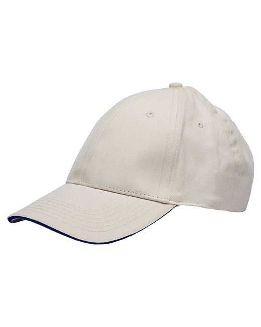 Bayside 100% Washed Cotton Unstructured Sandwich Cap - Stone/ Navy