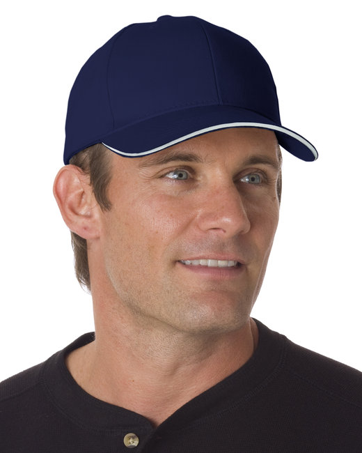 Bayside 100% Brushed Cotton Twill Structured Sandwich Cap - Navy/ White