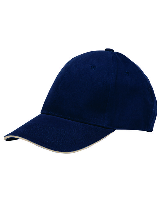 Bayside 100% Brushed Cotton Twill Structured Sandwich Cap - Navy/ Tan