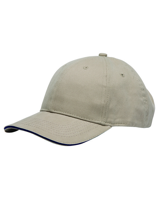 Bayside 100% Brushed Cotton Twill Structured Sandwich Cap - Tan/ Navy