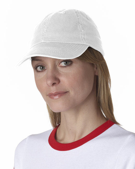 Bayside 100% Washed Chino Cotton Twill Unstructured Cap - White