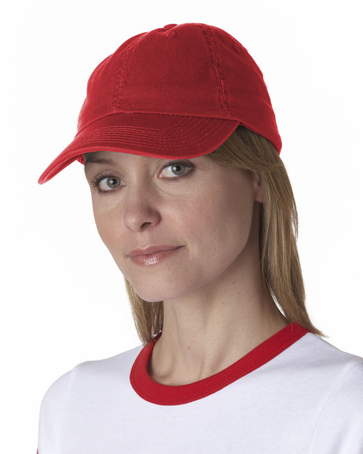 Bayside 100% Washed Chino Cotton Twill Unstructured Cap - Red