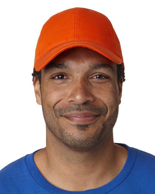 Bayside 100% Washed Chino Cotton Twill Structured Cap - Orange