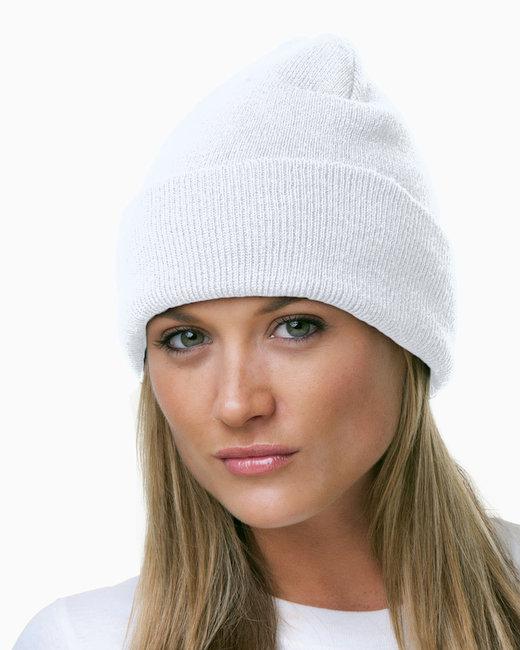 Bayside 100% Acrylic Knit Cuff Beanie - White