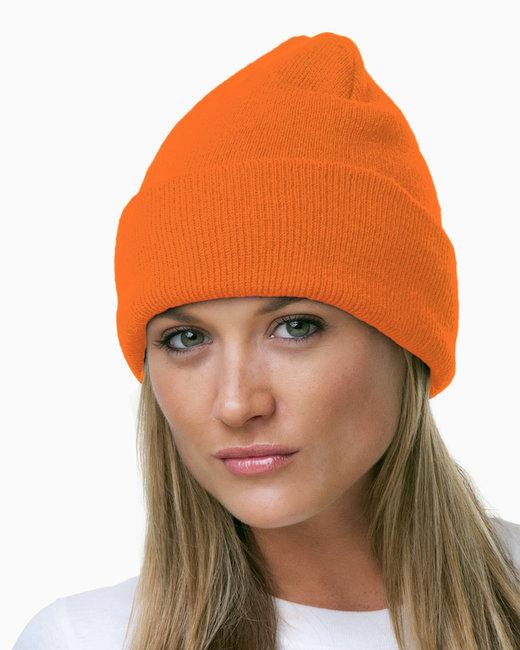 Bayside 100% Acrylic Knit Cuff Beanie - Bright Orange
