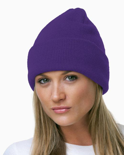 Bayside 100% Acrylic Knit Cuff Beanie - Purple