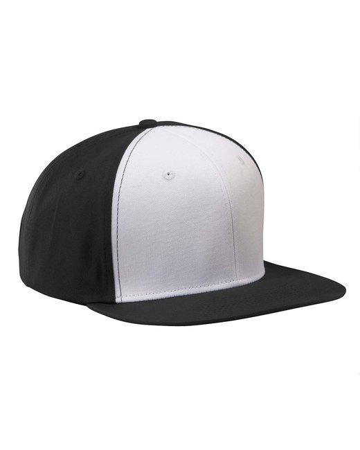 Big Accessories Flat Bill Cap - Black/ White